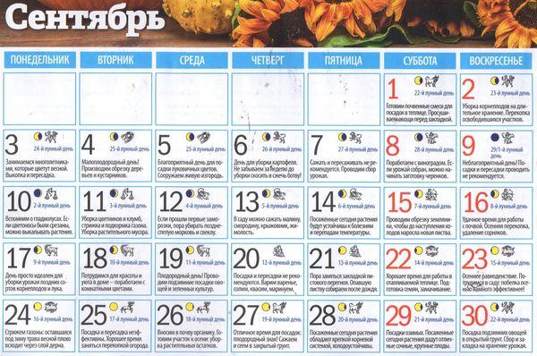 Лунный календарь на сентябрь 2018 - стрижек, огородника, клева