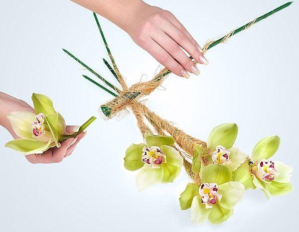 Изготовление букета из орхидей