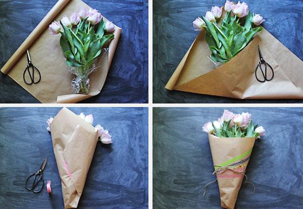 Тюльпаны можно упаковать в крафт бумагу