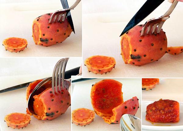 Как разделать плод съедобного кактуса опунции