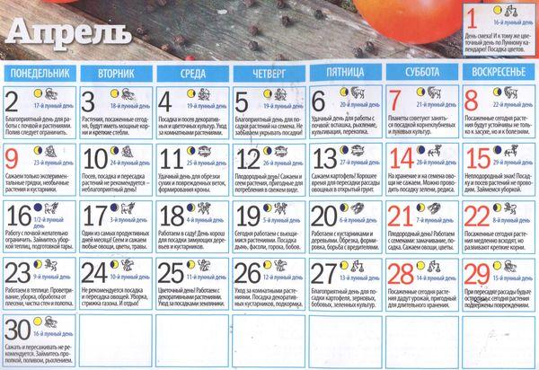 Лунный календарь огородника садовода на апрель 2018