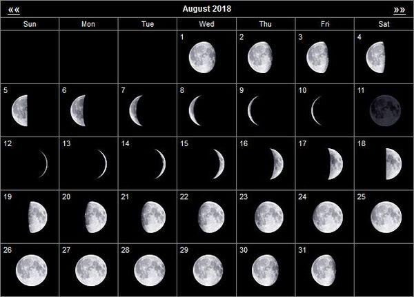 Фазы луны в августе 2018